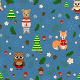 Vector forest design, Christmas seamless pattern with forest animals: fox, owl, bear. Stock Image