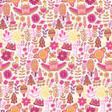 Vector forest design, floral seamless pattern Stock Photos