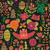 Vector forest design, floral seamless pattern Stock Photo