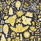 Vector forest design, floral seamless pattern Royalty Free Stock Images
