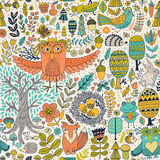 Vector forest design, floral seamless pattern with forest animals:  frog, fox, owl, rabbit, hedgehog.  Stock Photo