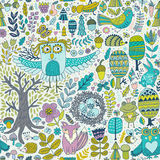 Vector forest design, floral seamless pattern with forest animals:  frog, fox, owl, rabbit, hedgehog. Vector background  Stock Photos