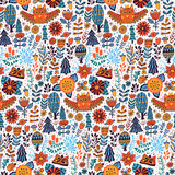 Vector forest design, floral seamless pattern with forest, flowers, owl, trees. Royalty Free Stock Photo