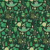 Vector forest design, floral seamless pattern with forest, flowers, owl, trees. Royalty Free Stock Image