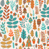 Vector forest design, floral seamless pattern, leaf background. Plants ornament. Royalty Free Stock Images