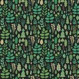 Vector forest design, floral seamless pattern, leaf background. Plants ornament. Stock Image