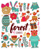 Vector forest elements in doodle childish style Royalty Free Stock Photos