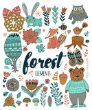 Vector forest elements in doodle childish style Royalty Free Stock Photo