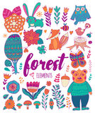 Vector forest elements in doodle childish style Stock Image