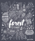 Vector forest elements in doodle childish style Stock Images
