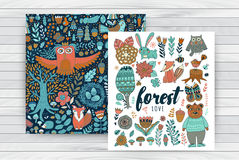 Vector forest elements in doodle childish style Stock Photos