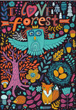 Vector forest illustration, doodling animals design. Hand draw animals. Kids illustration, funny cartoon animals in vector Stock Image