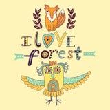 Vector forest illustration, doodling animals design. Hand draw animals. Kids illustration, funny cartoon animals in vector Stock Photos