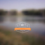 Vector forest landscape with badge. Simple nature with hipster b Royalty Free Stock Photography
