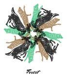 Vector Forest mood Engraved fractal outlet composition. stock illustration