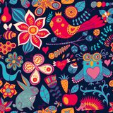 Vector forest seamless pattern. Floral background.Owl, rabbit, b Royalty Free Stock Image