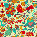 Vector forest seamless pattern. Floral background.Owl, rabbit, b vector illustration