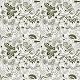 Vector forest seamless pattern. Floral background.Owl, rabbit, b Stock Images