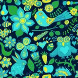 Vector forest seamless pattern. Floral background.Owl, rabbit, b Royalty Free Stock Photography