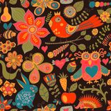 Vector forest seamless pattern. Floral background.Owl, rabbit, b Stock Photo