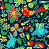 Vector forest seamless pattern. Floral background.Owl, rabbit, b Royalty Free Stock Photo