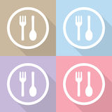 Vector fork and spoon icon, Illustration EPS10 Royalty Free Stock Image