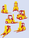 Vector fork trucks. Isolated orange Vector fork trucks Royalty Free Stock Image