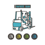Vector Forklift icon color on white background Royalty Free Stock Photo