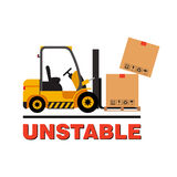 Vector forklift truck moving dropping cardboard boxes. stock illustration