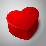 Vector a forma vermelha brilhante grande vazia realística do coração Fotos de Stock