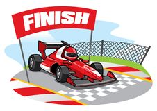 Formula racing car reach the finish line. Vector of formula racing car reach the finish line Royalty Free Stock Photo