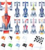 Vector formuleauto's en vlaggen vector illustratie