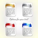 Vector Fortschrittsoptionen/vier Optionen mit farbigem Pfeil Stockfotografie