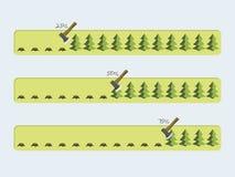 Vector Fortschrittsstangen mit dem Laden des grünen Baums Lizenzfreie Stockfotos