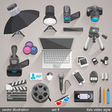 Vector foto video style. set 6 Stock Photos