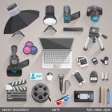 Vector foto video style. set 6. Illustration art Stock Photos