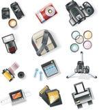 Vector fotografieapparatuur pictogramreeks Stock Afbeelding