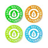 Vector 100% recycle sticker. Vector four colored 100% recycle sticker set vector illustration