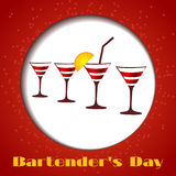 Vector four glasses on a red background. Card bartenders Day. Vector four glasses on a red background vector illustration