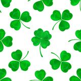 Four-leaf clover seamless pattern background. Vector four-leaf clover seamless pattern background. Lucky fower-leafed green background for Irish beer festival St royalty free illustration