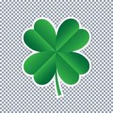 Vector four leaf clover on transparent background stock illustration