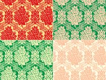 Vector. Four variation of damask pattern with rose Royalty Free Stock Image