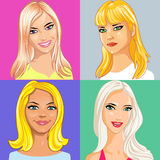Vector Four young beautiful blonde girl smiling Stock Image