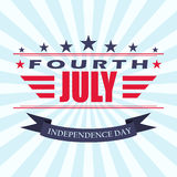 Vector Fourth of July background with stars and ribbon. USA Independence Day design. Template for 4th of July. Stock Image