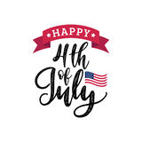 Vector Fourth of July hand lettering inscription for greeting banner etc.Happy Independence Day calligraphic background. Vector Fourth of July hand lettering Stock Photos