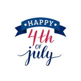 Vector Fourth of July hand lettering inscription for greeting card etc. Happy Independence Day calligraphic background. Stock Photo