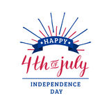 Vector Fourth of July hand lettering inscription for greeting card etc. Happy Independence Day calligraphic background. Stock Photography
