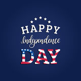 Vector Fourth of July hand lettering inscription for greeting card etc. Happy Independence Day calligraphic background. Royalty Free Stock Images