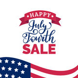 Vector Fourth of July Sale hand lettering inscription for greeting banner. Independence Day calligraphic background. Royalty Free Stock Photography
