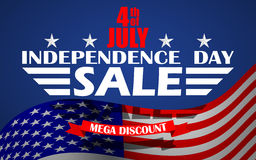 Vector Fourth of July USA Independence day sale background. Design template for 4th of July sale. Stock Photo
